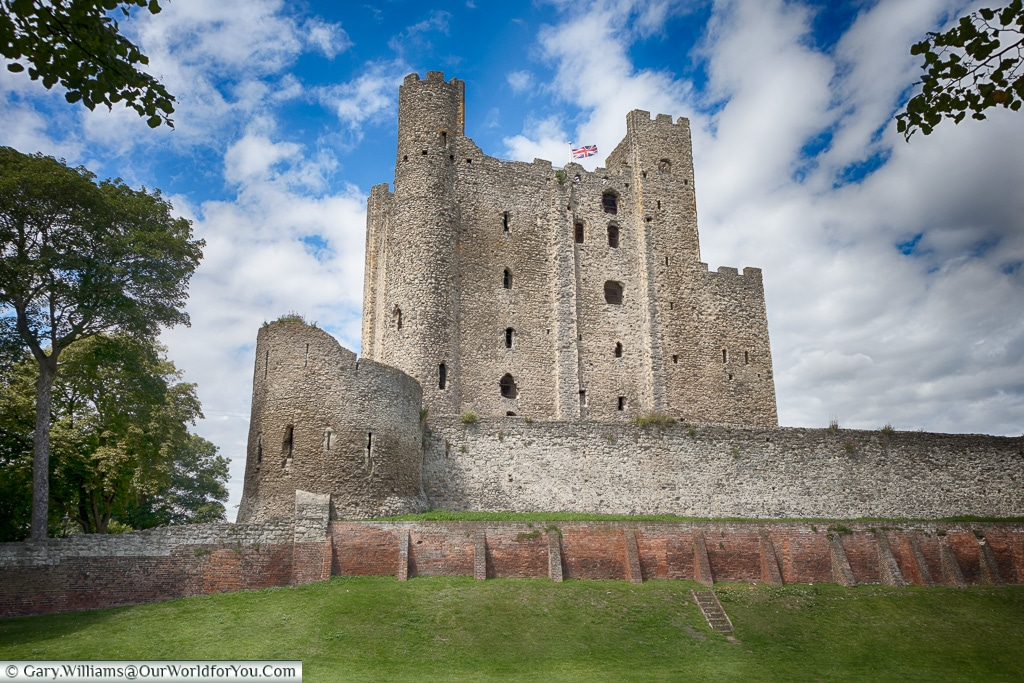 Rochester Castle from the moat, Rochester, Kent, England, UK