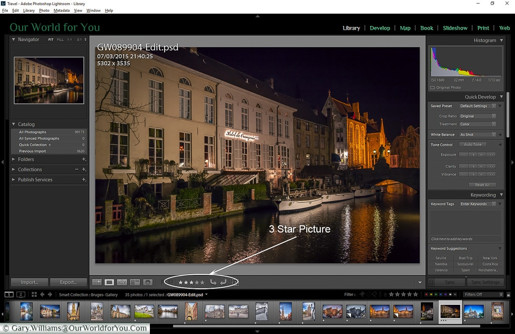 3 star picture in the Library, Adobe Lightroom