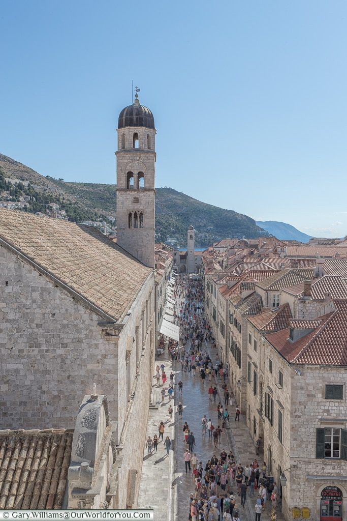 Looking down on the Stradun, Dubrovnik, Croatia