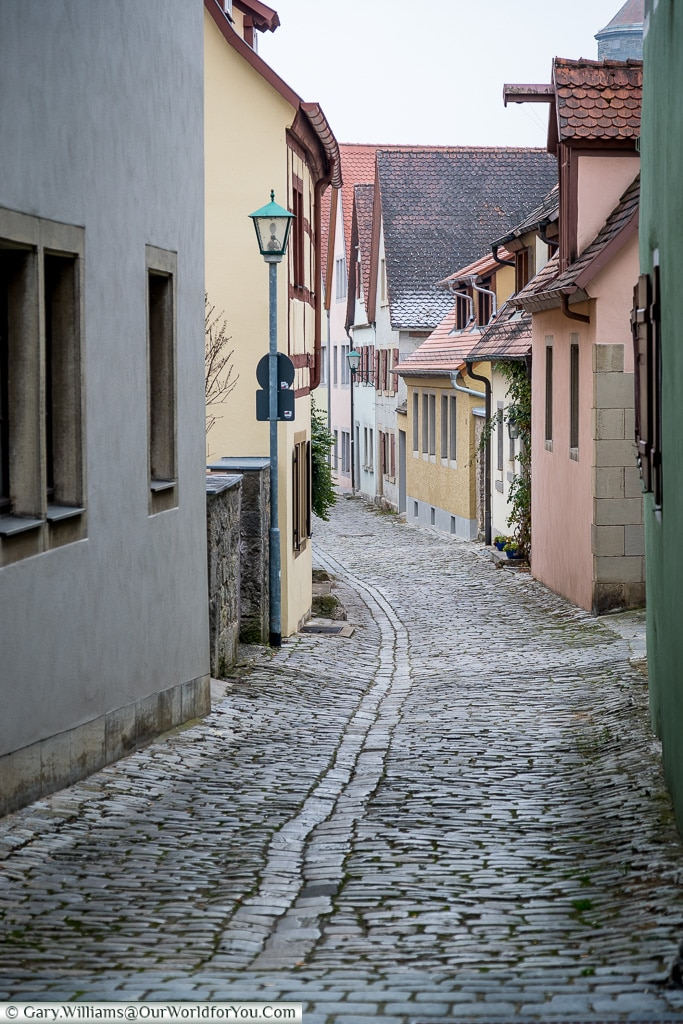 The cobbled lanes of Rothenburg ob der Tauber, Germany