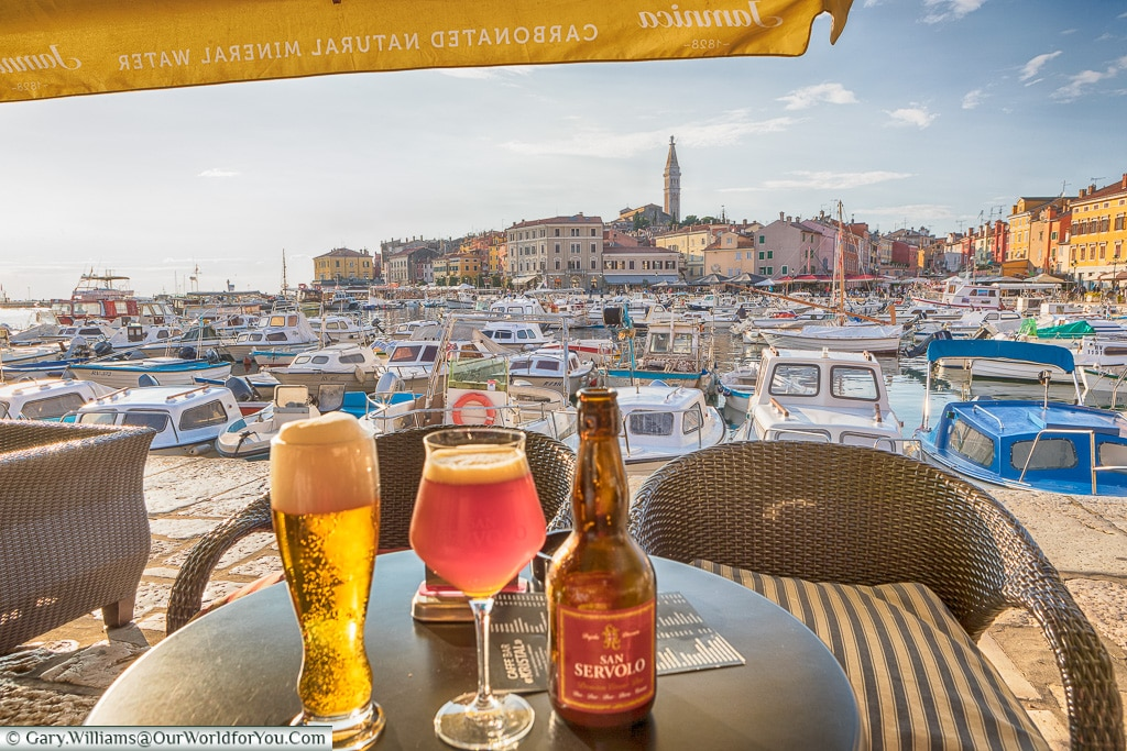 A couple of beers by the harbour, Rovinj, Croatia