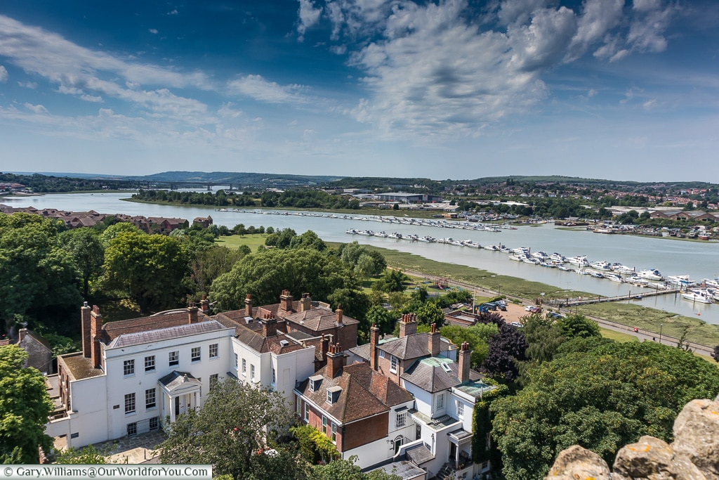 A view along the Medway, Rochester Castle, Rochester, Kent, England, UK