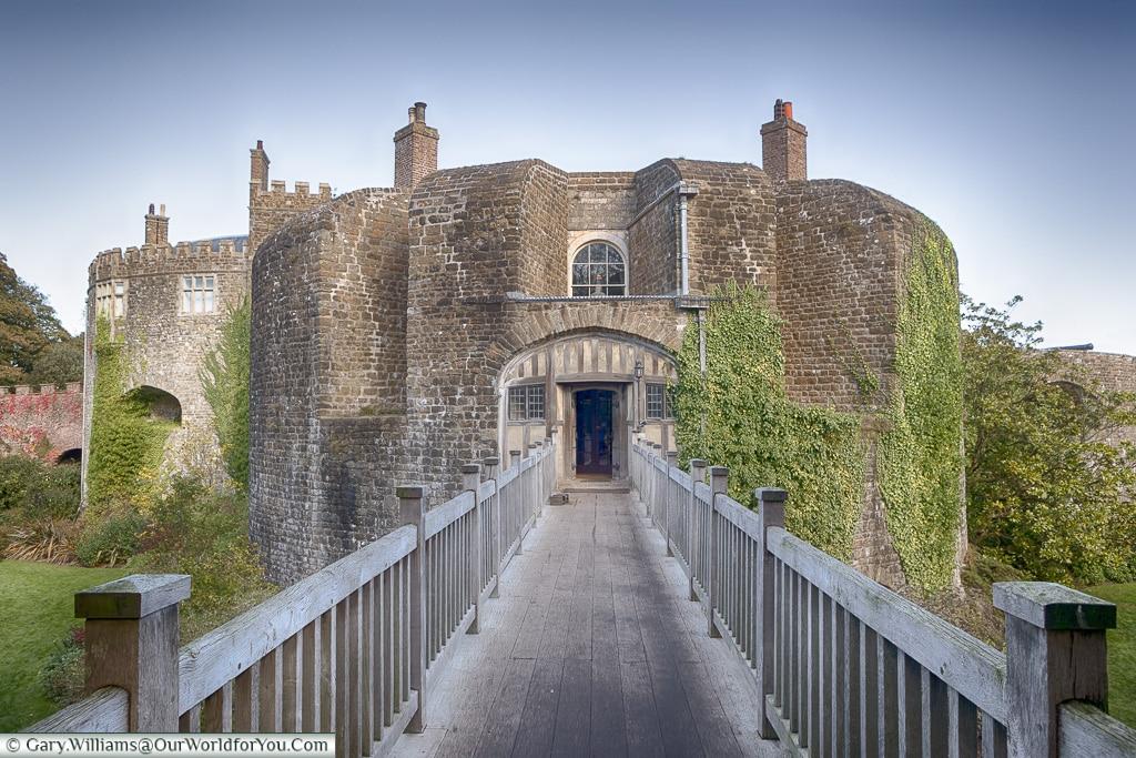 Entrance across the moat, Walmer, Kent, England, UK