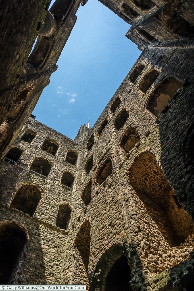 Looking up to the sky, Rochester Castle, Rochester, Kent, England, UK