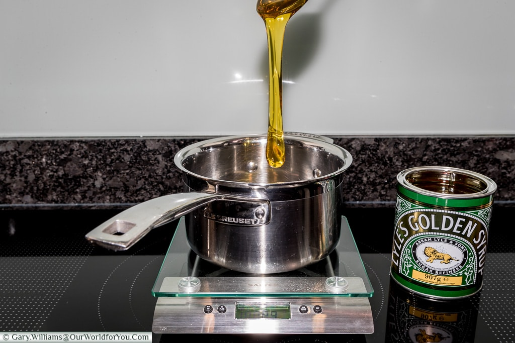 Pouring the Golden Syrup for Parkin