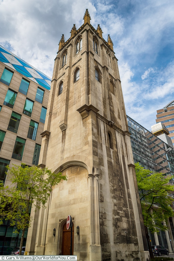 The Tower of the Church of St Alban, City of London, London, Eng