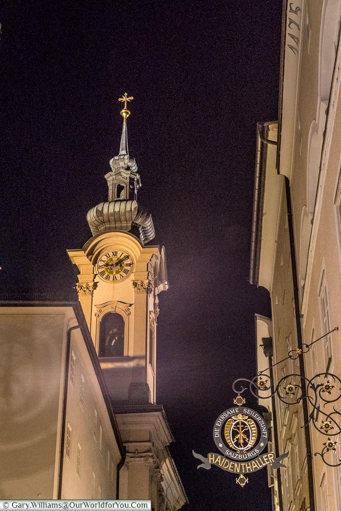 Linzer Gasse at night, Salzburg, Austria
