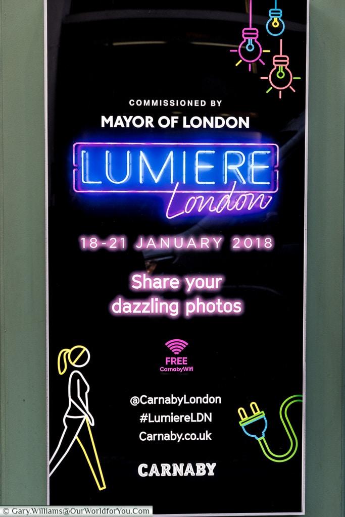 Lumiere London poster, London, England, UK