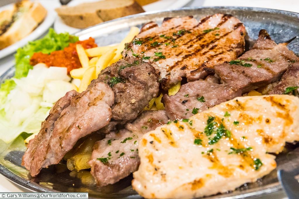 A heaty meat platter, Croatian Food