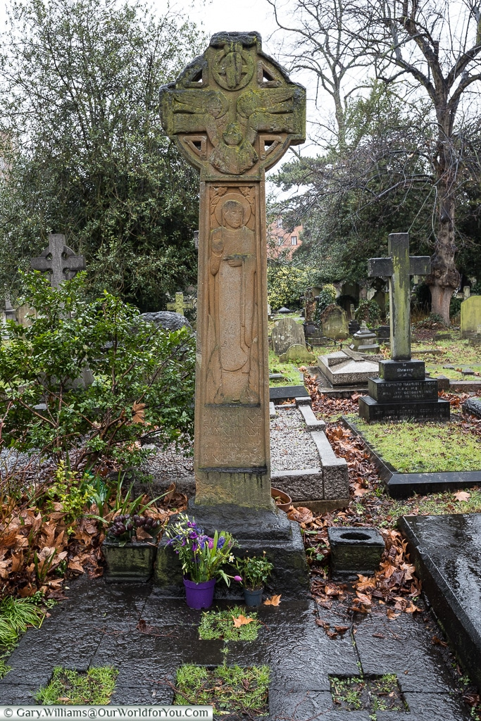 The grave of Emmeline Pankhurst - Suffragette, Brompton Cemetery, London, England, UK