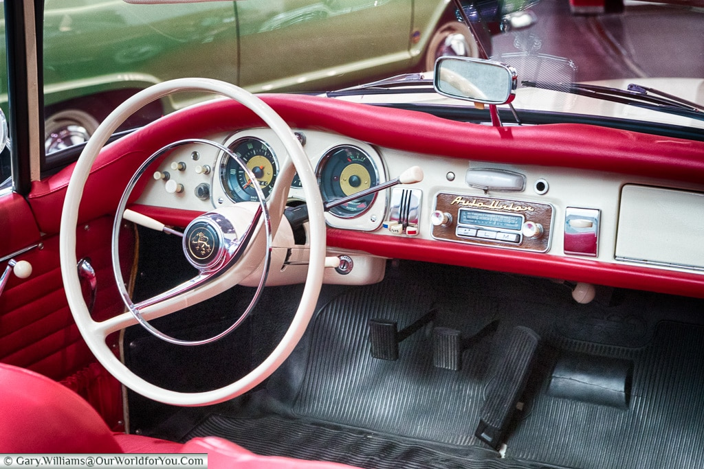 The interior of the Auto Union 1000 SP , Audi Museum, Ingolstadt, Germany