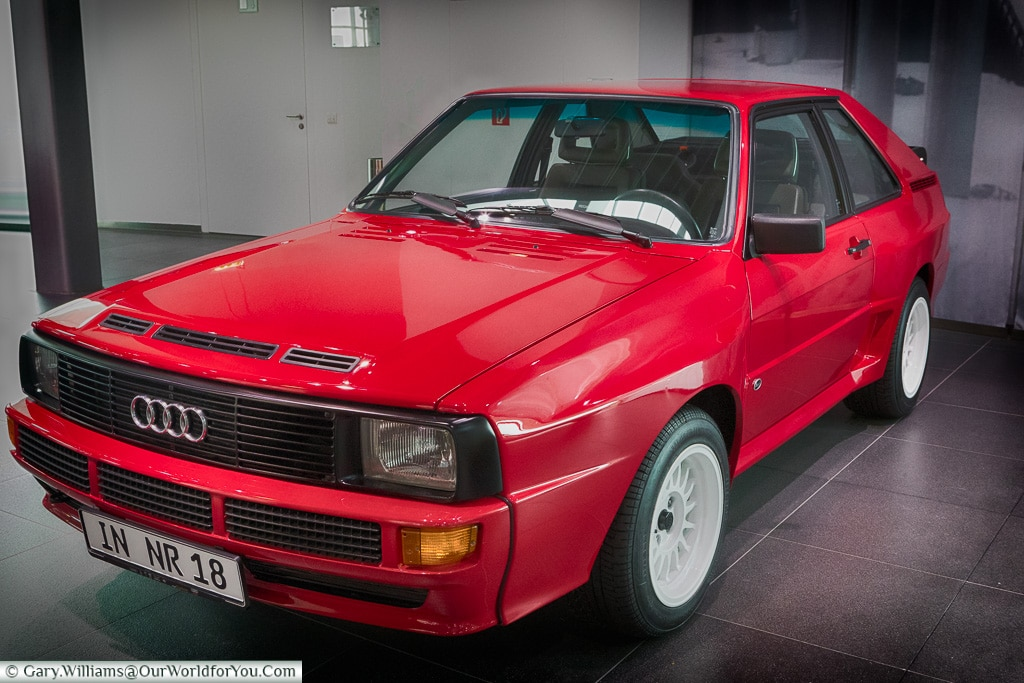 The original Audi Quattro, Audi Museum, Ingolstadt, Germany