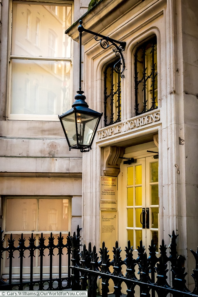 A gas lamp in Temple Gardens, London, England, UK