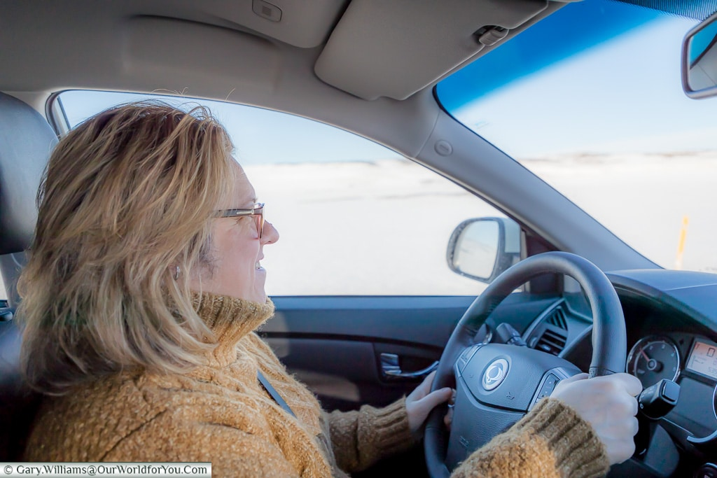 Janis driving Etta in Iceland