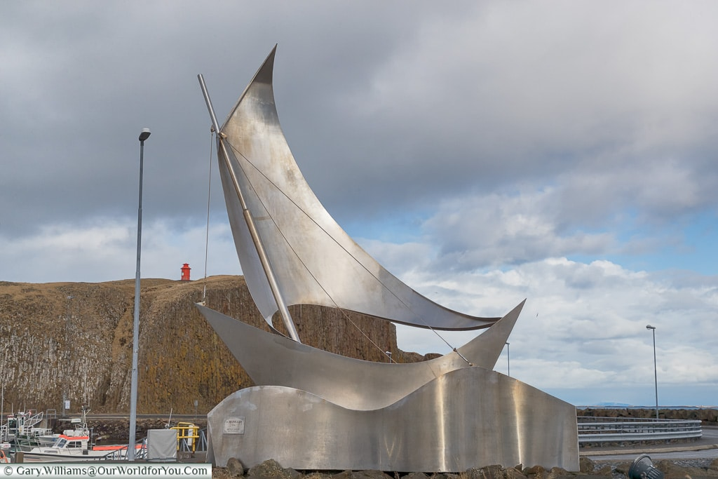 A sailing monument in Stykkishólmur, Iceland