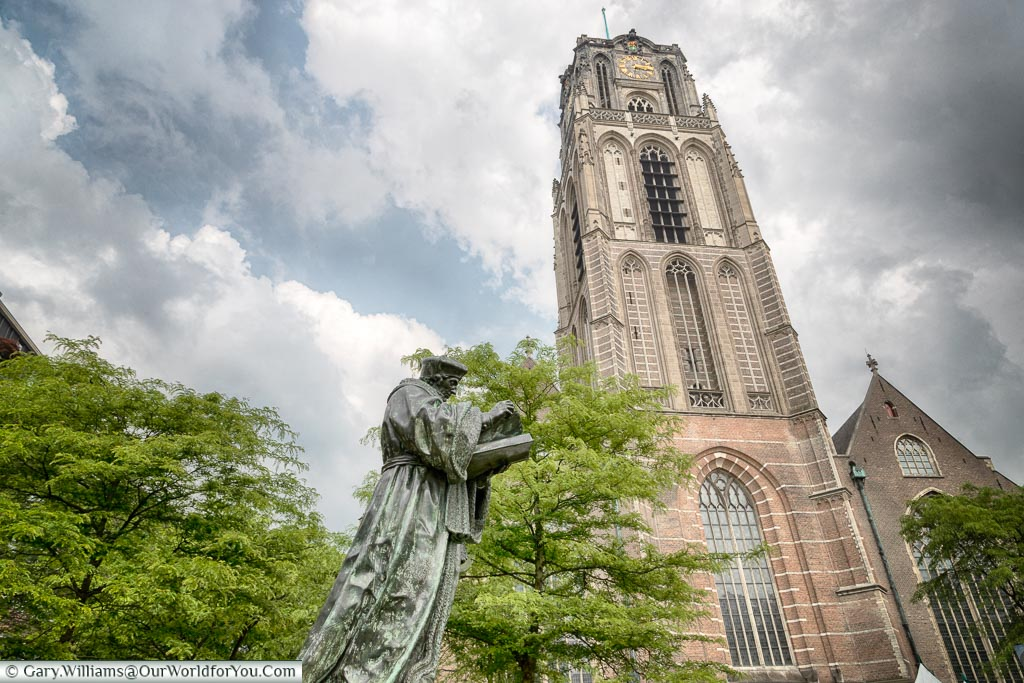 Erasmus in front of Laurenkerk, Rotterdam, Netherlands