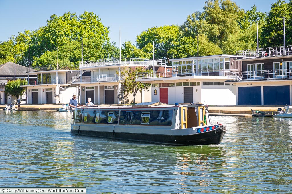 A canal boat on the river Thames at Oxford, England, UK