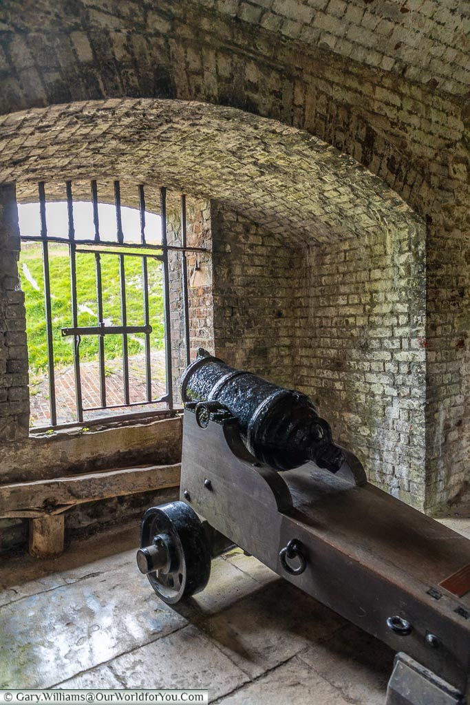 A cannon in place, Dover Castle, Dover, Kent, England