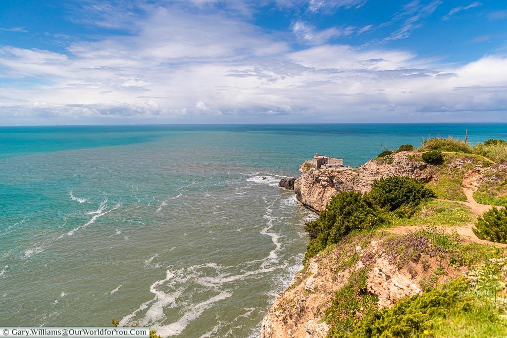 Looking across the Farol da Nazaré, Portugal