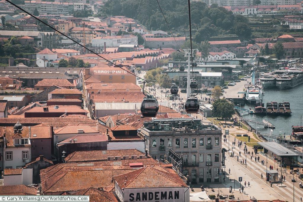 Taking the cable car down, Porto, Portugal