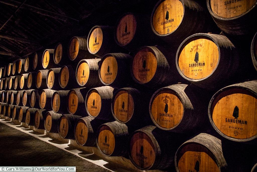 The cellars of Sandeman Port house, Porto, Portugal