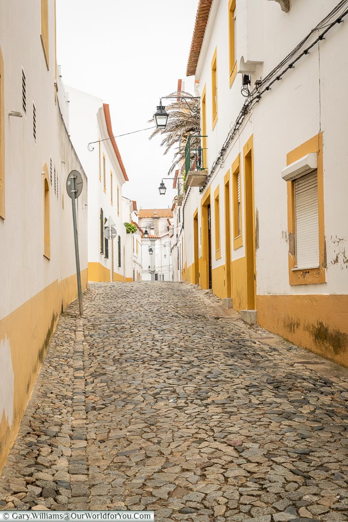 The cobbled lanes of  Évora, Portugal