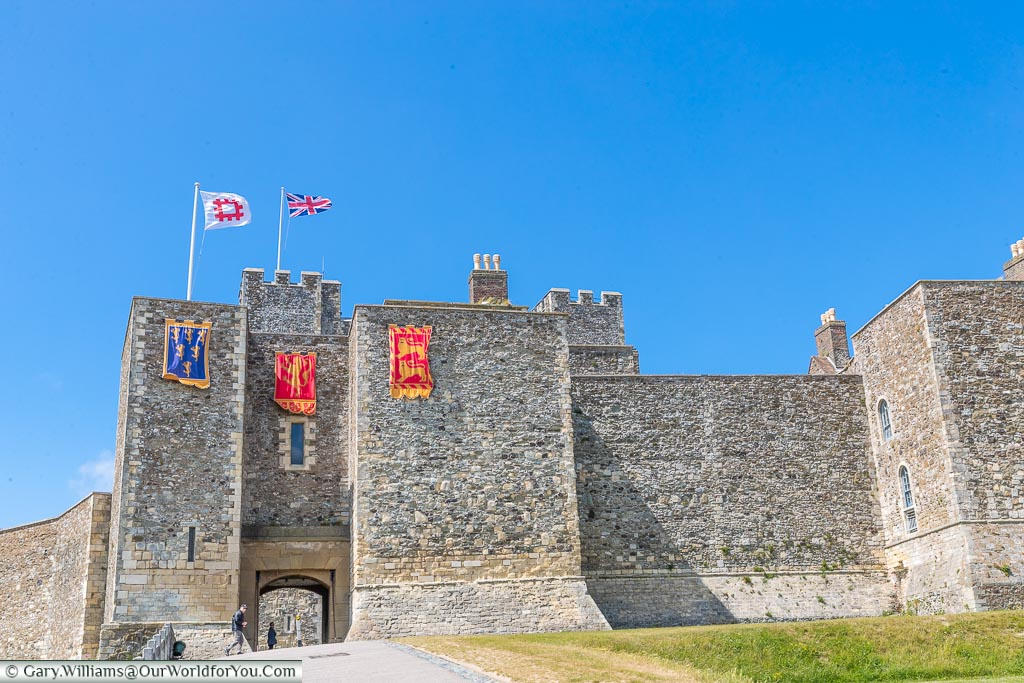 The inner walls of Dover Castle, Dover, Kent, England