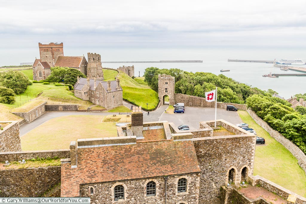 View over the harbour, Dover Castle, Dover, Kent, England