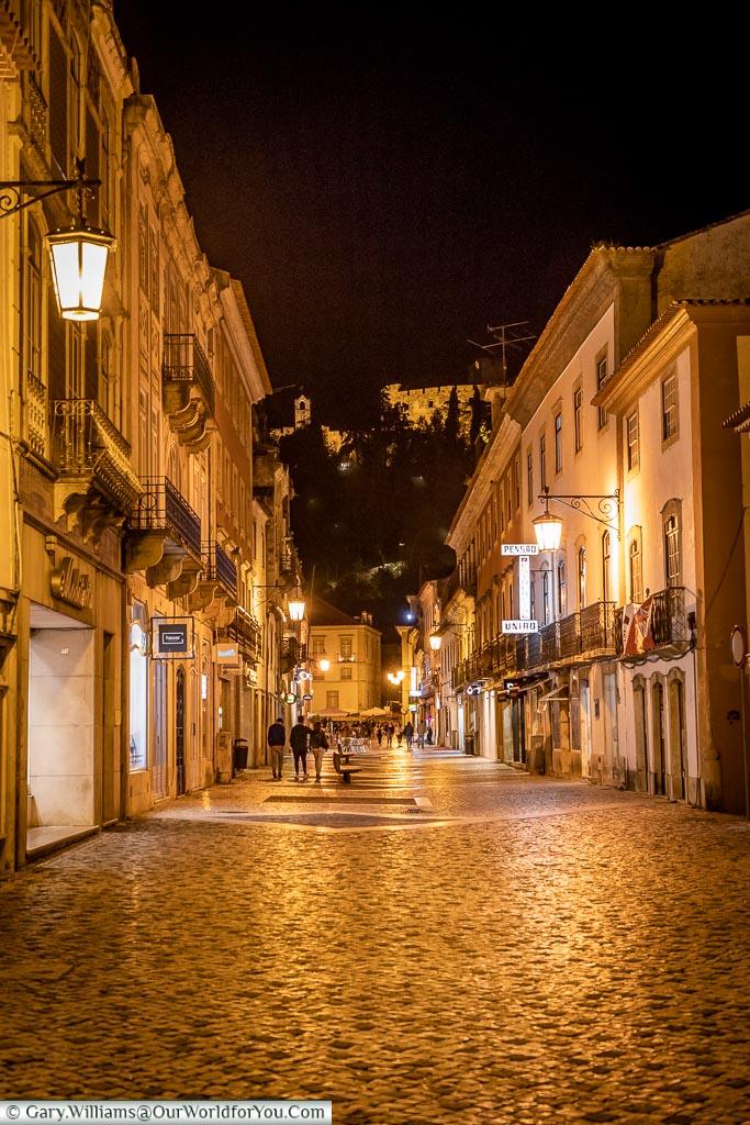 Rua Serpa Pinto at night, Tomar, Portugal