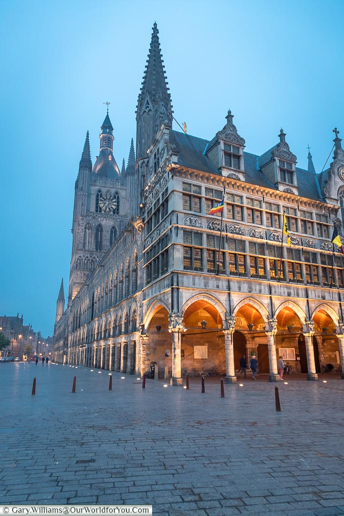The Cloth Hall at night, Ypres, leper, Belgium