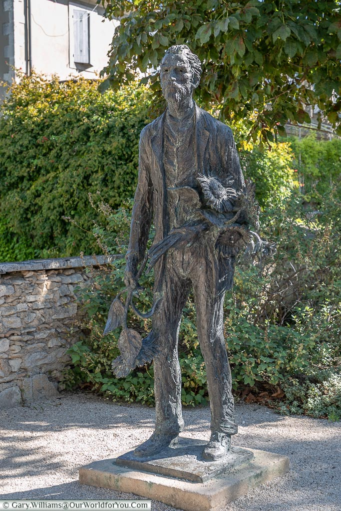 A statue to Vincent with his sunflowers, St Remy-de-Provence, France