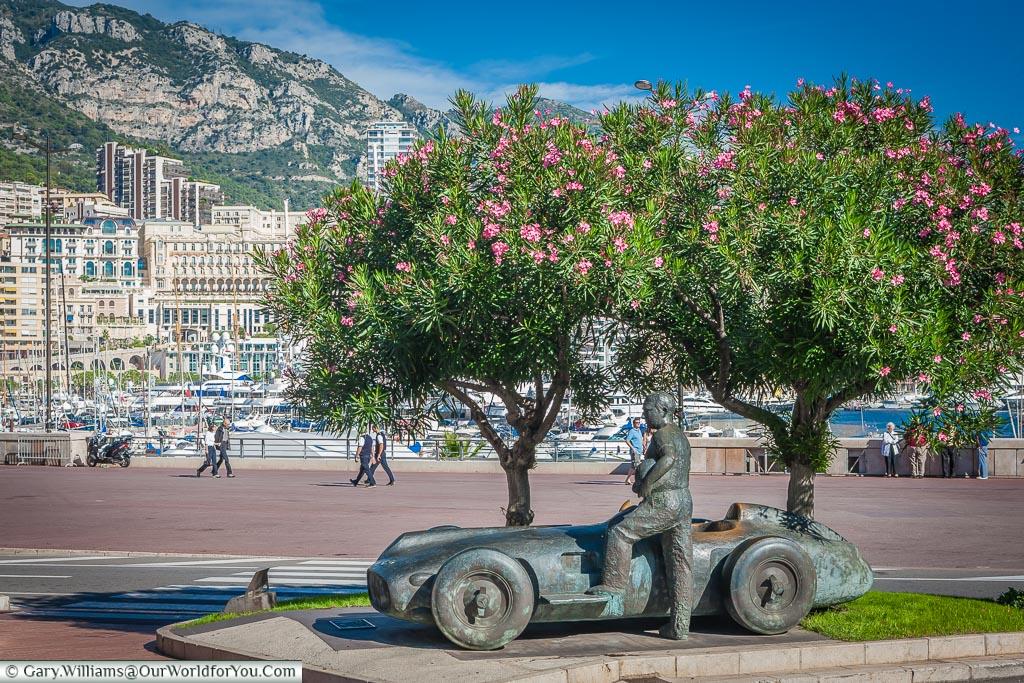 The Fangio monument on the streets of Monte Carlo, Monaco