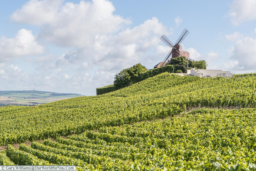 The G.H. Mumm Windmill on the hill in Verzenay, France.