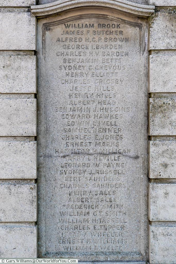 The list of names on the  Eccles War Memorial, Eccles, Kent, Emgland, UK