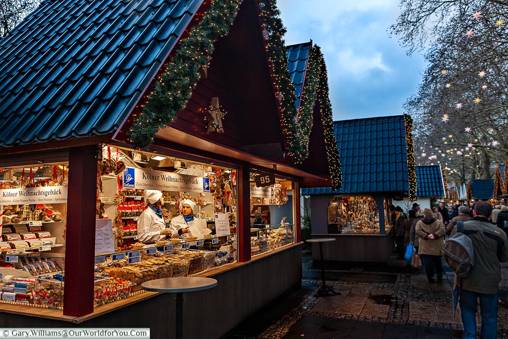 All kinds of Stollen for sale at the Angel Christmas Market, Cologne, Germany