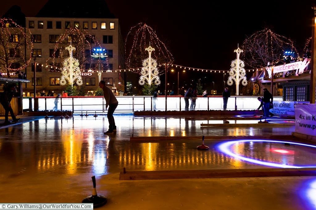 Curling on the Ice, Cologne Christmas markets, Germany