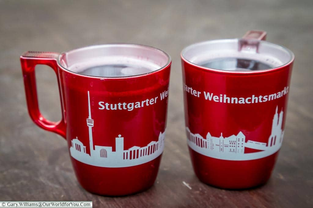 Glühwein in bright red mugs, Stuttgart, Germany