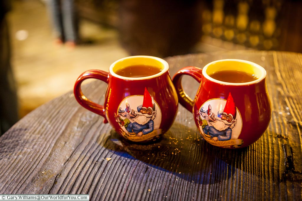 Glühwein in the souvenir mugs,, Christmas Markets, Cologne, Germany