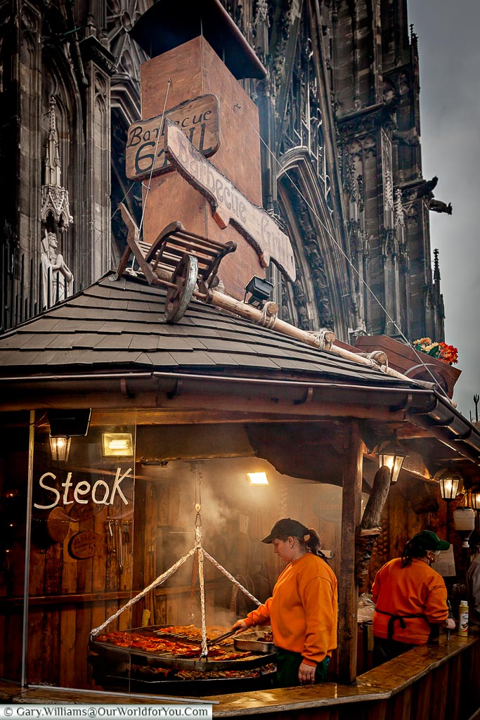 Steak at the Dom Christmas Market, Cologne, Germany