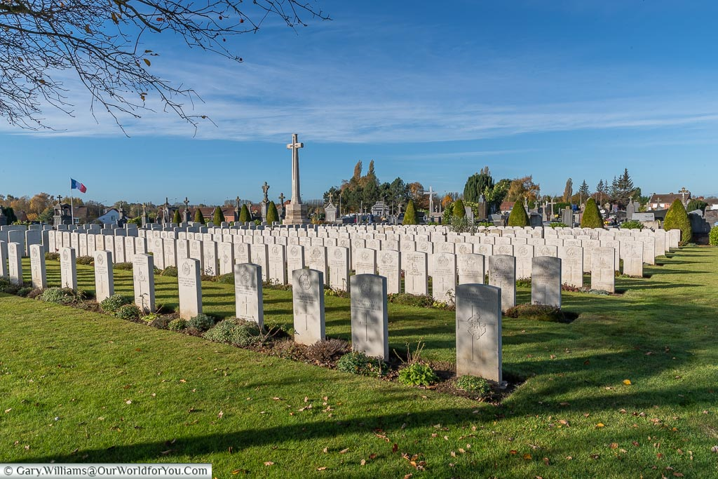 The British war graves at the Aire Communal Cemetery, France
