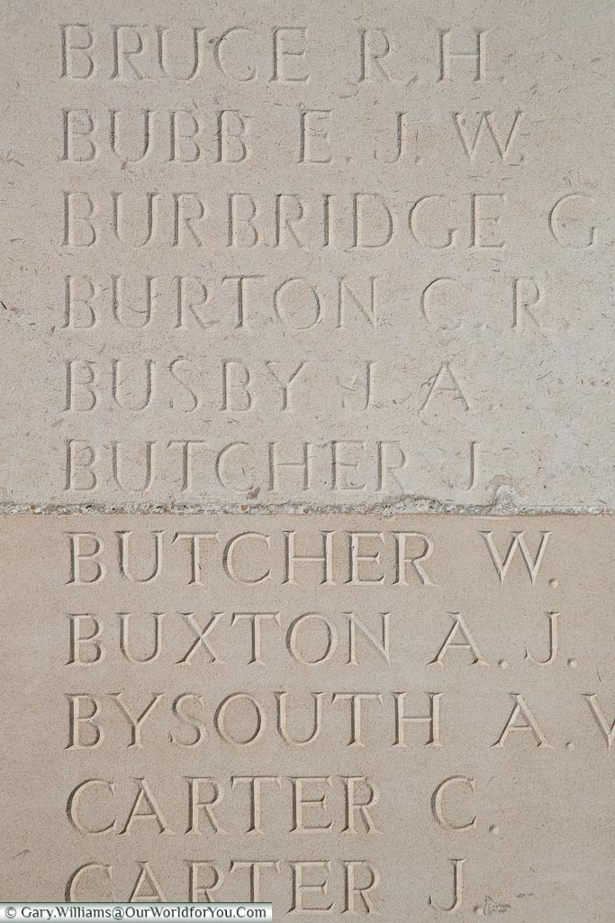 The memorial to James Butcher, Loos Memorial, France