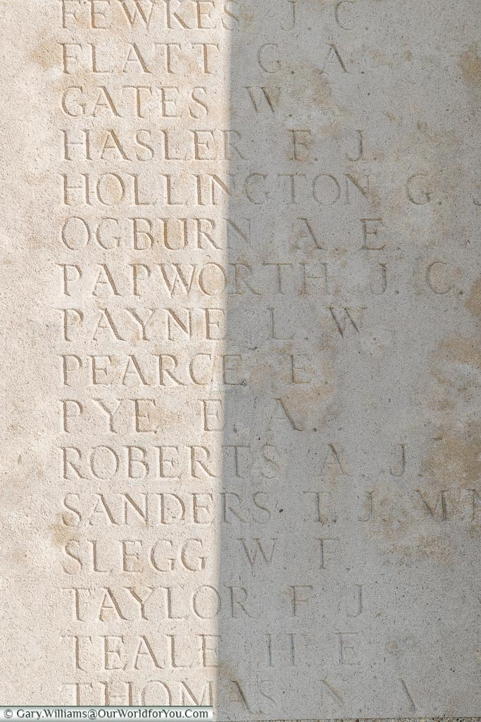 The memorial to Leonard William Payne, Pozieres Memorial, Somme, France