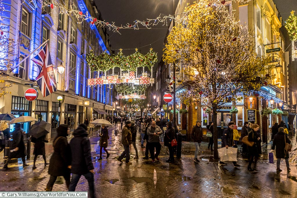 The view from Seven Dials, Christmas, London, England, UK