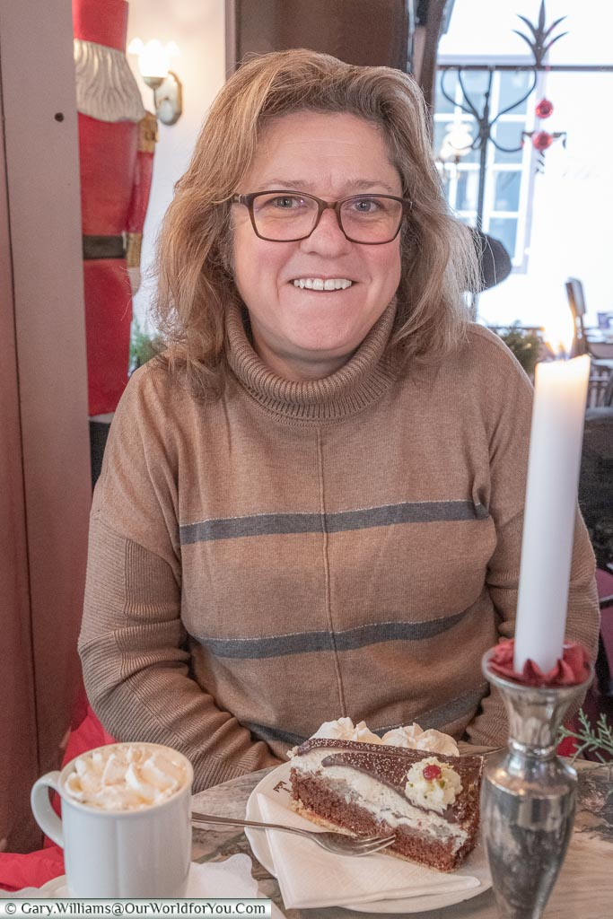 Janis about to enjoy her cake, Bremen, German Christmas Markets, Germany