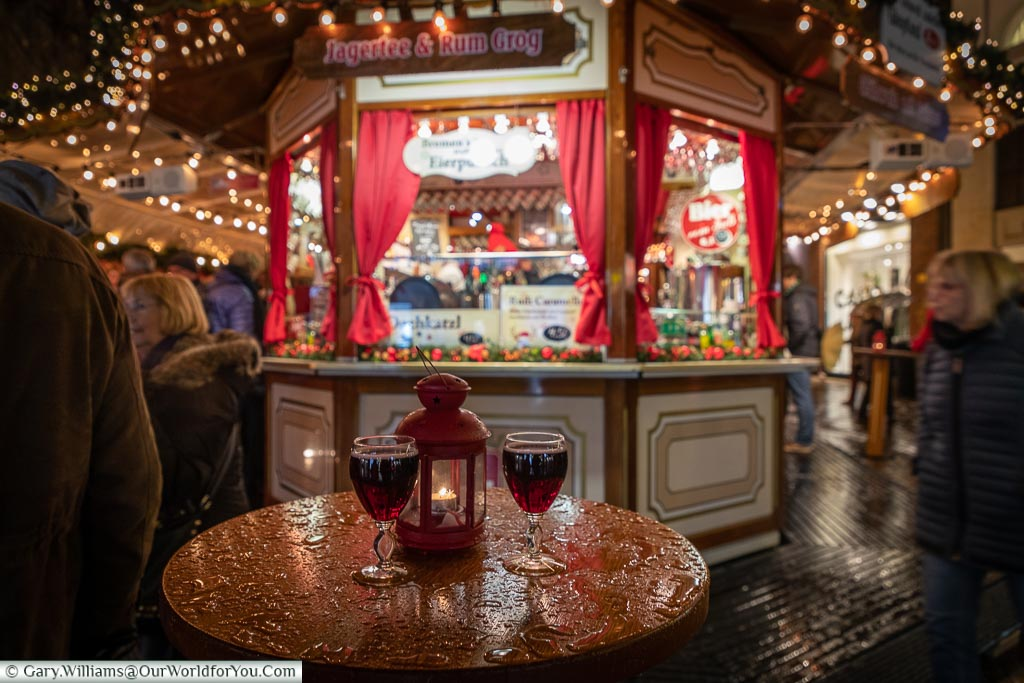 Our first Glühwein of the season, in wine glasses, Bremen, German Christmas Markets, Germany