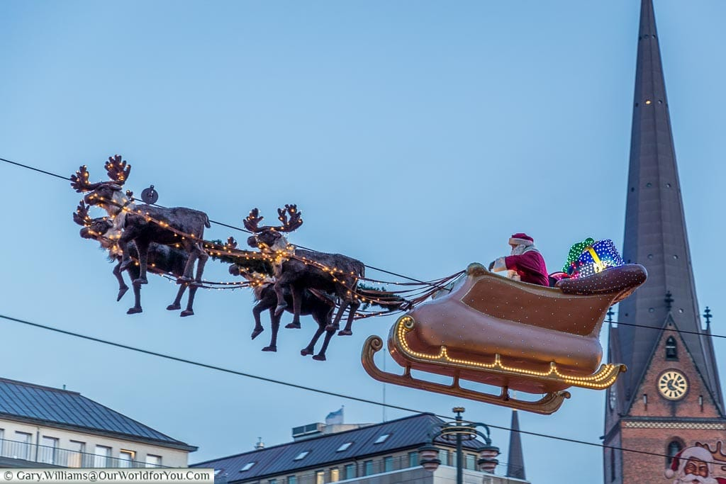 Santa really does fly, Hamburg German Christmas Markets, Germany