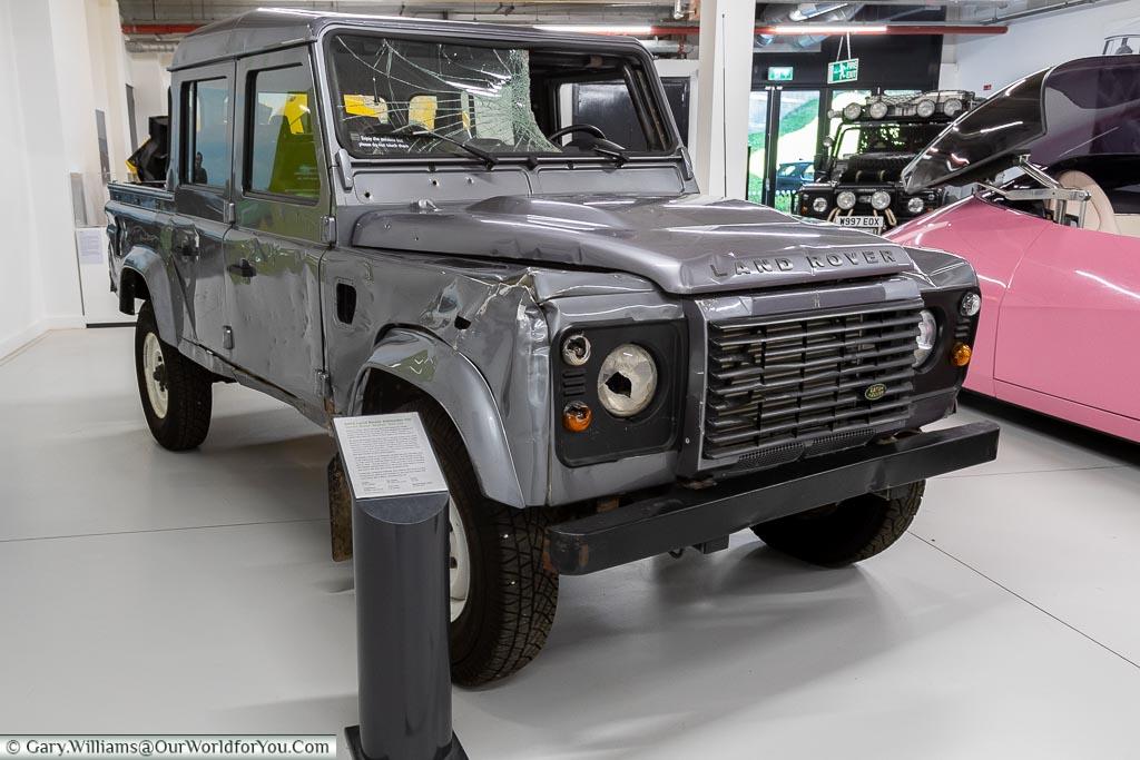 A Land Rover from James Bond - Skyfall, British Motor Museum, Warwickshire, England, UK