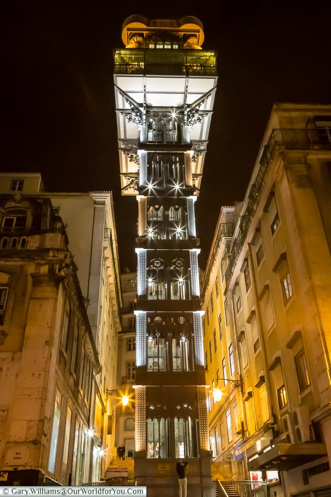 Elevador de Santa Justa at night, Lisbon, Portugal