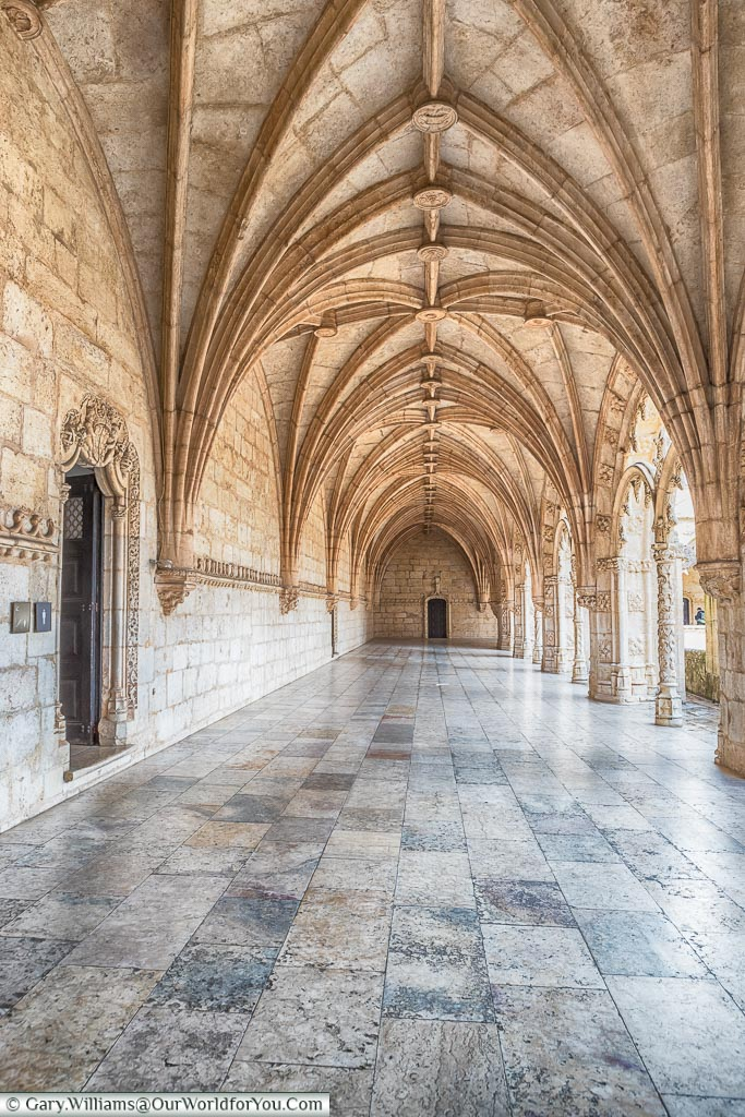 The cloisters of Mosteiro dos Jerónimos, Lisbon, Portugal