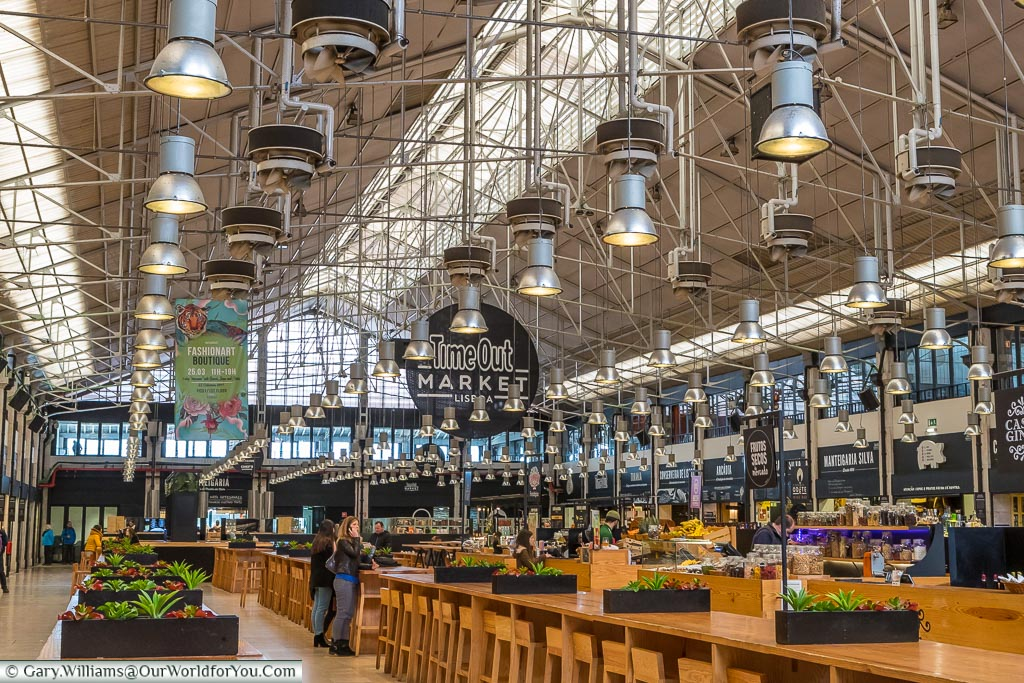 The inside of the Time Out Market, Lisbon, Portugal